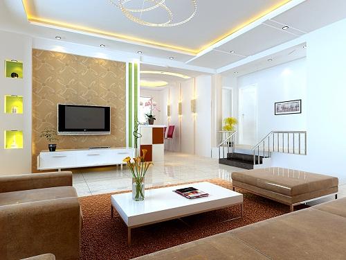 beyaz duvar renkli salon