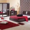 kırmızı padişah halı modeli, şık yatak odası halı örneği