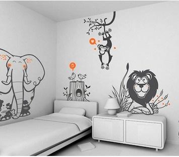 dekoratif duvar stickerı, ormanlı stickerı takımı